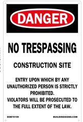 NO TRESPASSING CONSTRUCTION SITE SIGN (Aluminium) (14X9)