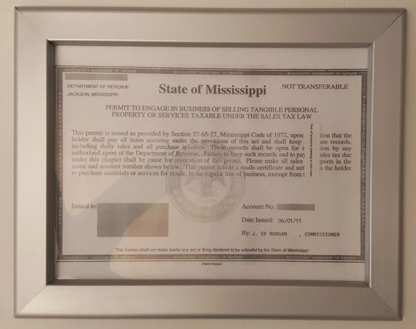 Business license Permit state of Mississippi frame 8.5 x 11