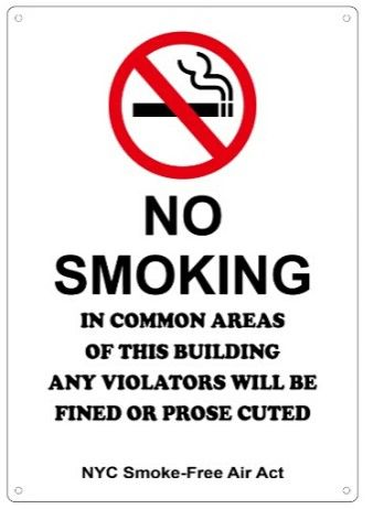 NO SMOKING - NYC SMOKE FREE AIR ACT SIGN (12X8.5)