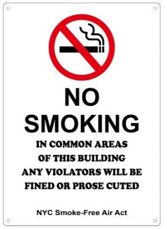 NO SMOKING - NYC SMOKE FREE AIR ACT SIGN (12X8.5)