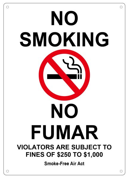 NO SMOKING VIOLATORS ARE SUBJECT TO FINES OF $250-$1000 Smoke free Air Act SIGN