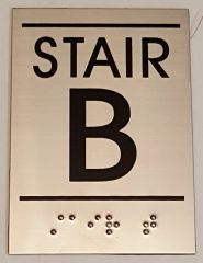 FLOOR NUMBER SIGN – STAIR B SIGN - STAINLESS STEEL (5.75X4)