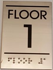 FLOOR NUMBER ONE (1) SIGN - STAINLESS STEEL (5.75X4)