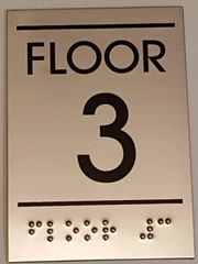 FLOOR NUMBER THREE (3) SIGN - STAINLESS STEEL (5.75X4)
