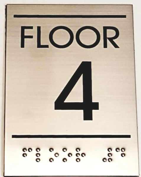 FLOOR NUMBER FOUR (4) SIGN - STAINLESS STEEL (5.75X4)