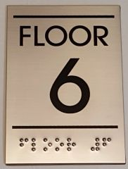 FLOOR NUMBER SIX (6) SIGN - STAINLESS STEEL (5.75X4)