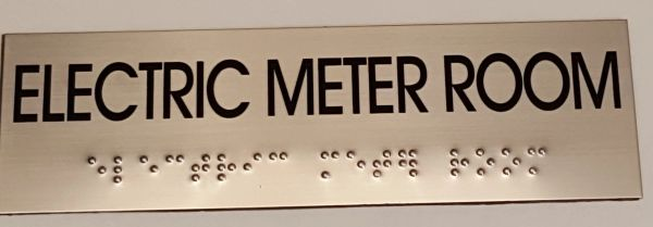 ELECTRIC METER ROOM SIGN – STAINLESS STEEL (3X9.75)