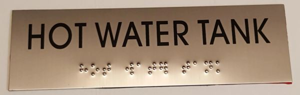 HOT WATER TANK SIGN – STAINLESS STEEL (3X9.75)