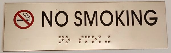 NO SMOKING SIGN – STAINLESS STEEL (3X9.75)