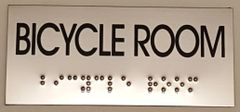 BICYCLE ROOM SIGN – STAINLESS STEEL (3X6.75)
