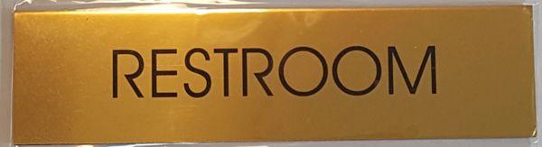RESTROOM SIGN – GOLD ALUMINUM (2X7.75)