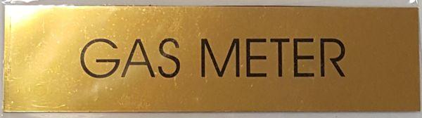 GAS METER SIGN – GOLD ALUMINUM (2X7.75)