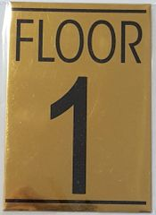 FLOOR NUMBER ONE (1) SIGN – GOLD ALUMINUM (5.75X4)