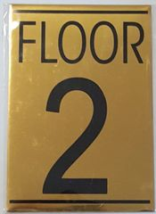 FLOOR NUMBER TWO (2) SIGN – GOLD ALUMINUM (5.75X4)