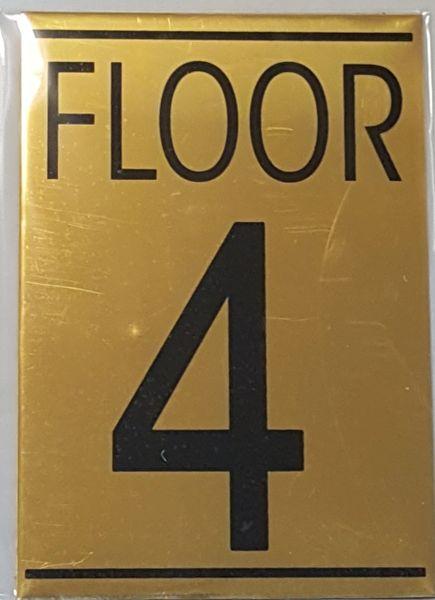 FLOOR NUMBER FOUR (4) SIGN – GOLD ALUMINUM (5.75X4)