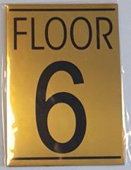 FLOOR NUMBER SIX (6) SIGN – GOLD ALUMINUM (5.75X4)