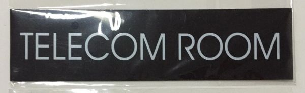 TELECOM ROOM SIGN – BLACK (2X7.75)