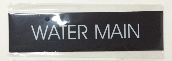 WATER MAIN SIGN – BLACK (2X7.75)