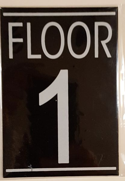 FLOOR NUMBER ONE (1) SIGN – BLACK (5.75X4)