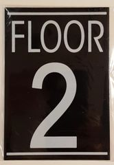 FLOOR NUMBER TWO (2) SIGN – BLACK (5.75X4)