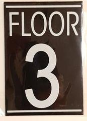 FLOOR NUMBER THREE (3) SIGN – BLACK (5.75X4)