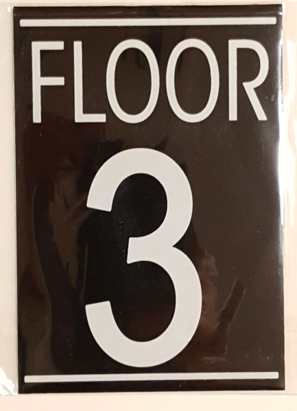 FLOOR NUMBER THREE (3) SIGN – BLACK (5.75X4)