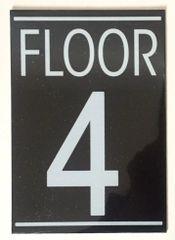 FLOOR NUMBER FOUR (4) SIGN – BLACK (5.75X4)