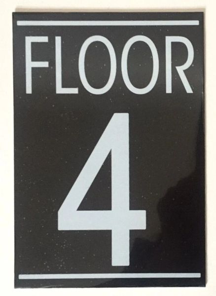 FLOOR NUMBER FOUR (4) SIGN – BLACK (5.75X4)