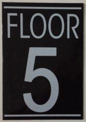 FLOOR NUMBER FIVE (5) SIGN – BLACK (5.75X4)