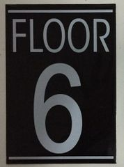 FLOOR NUMBER SIX (6) SIGN – BLACK (5.75X4)