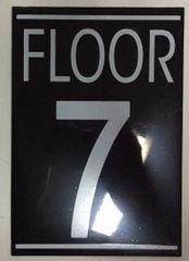 FLOOR NUMBER SEVEN (7) SIGN – BLACK (5.75X4)
