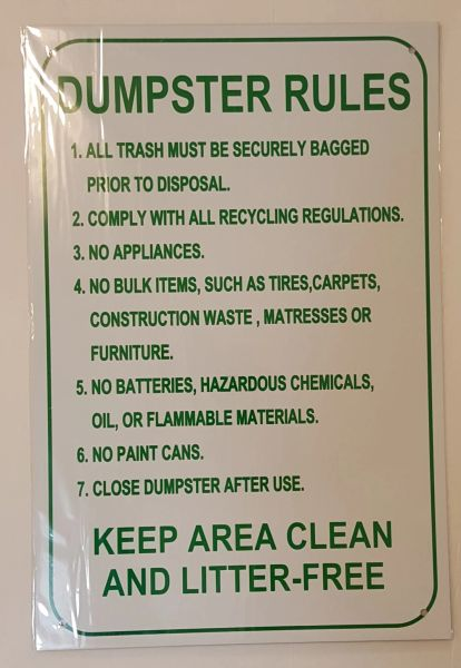 DUMPSTER RULES SIGN–WHITE ALUMINUM (18X12)
