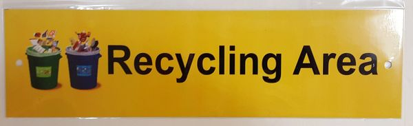 RECYCLING AREA SIGN–ALUMINUM (3X11)