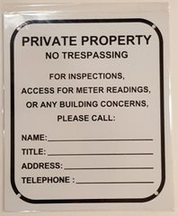 BUILDING ACCESS CONTACT SIGN–WHITE ALUMINUM (10X8.5)
