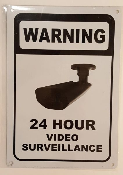 WARNING 24 HOUR VIDEO SURVEILLANCE SIGN– WHITE ALUMINUM (10X7)
