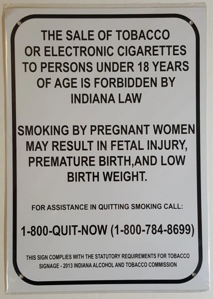 SALE OF TOBACCO AND ELECTRONIC CIGARETTES SIGN– WHITE ALUMINUM (14X10)