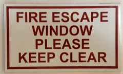 FIRE ESCAPE WINDOW PLEASE KEEP CLEAR SIGN – PURE WHITE (3.5X6)