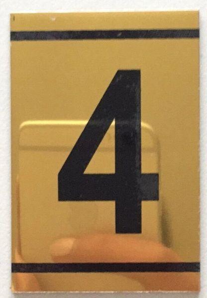 z-NUMBER FOUR SIGN – 4 SIGN - GOLD ALUMINUM (2.25X1. 5)