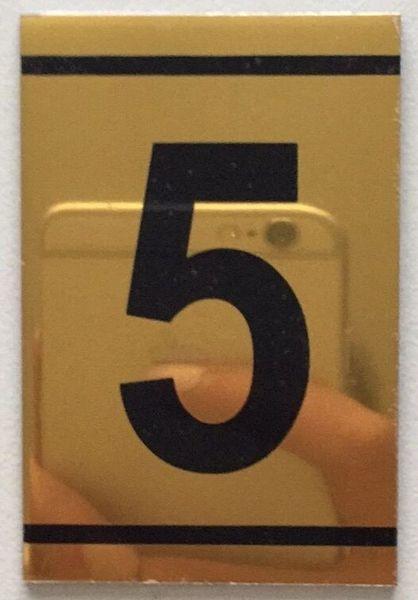 z- NUMBER FIVE SIGN – 5 SIGN - GOLD ALUMINUM (2.25X1. 5)