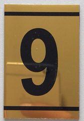 z-NUMBER NINE SIGN – 9 SIGN - GOLD ALUMINUM (2.25X1. 5)