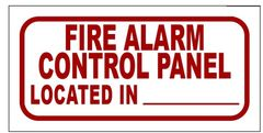 FIRE ALARM CONTROL PANEL (ALUMINUM SIGN SIZED 3X6)