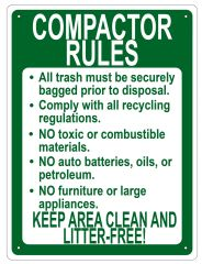COMPACTOR RULES SIGN - WHITE ALUMINUM (16X12)