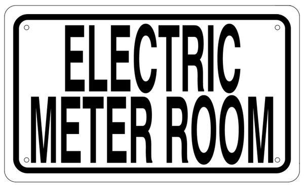 ELECTRIC METER ROOM SIGN - WHITE ALUMINUM (6X10)
