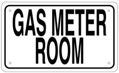 GAS METER ROOM SIGN - WHITE ALUMINUM (6X10)