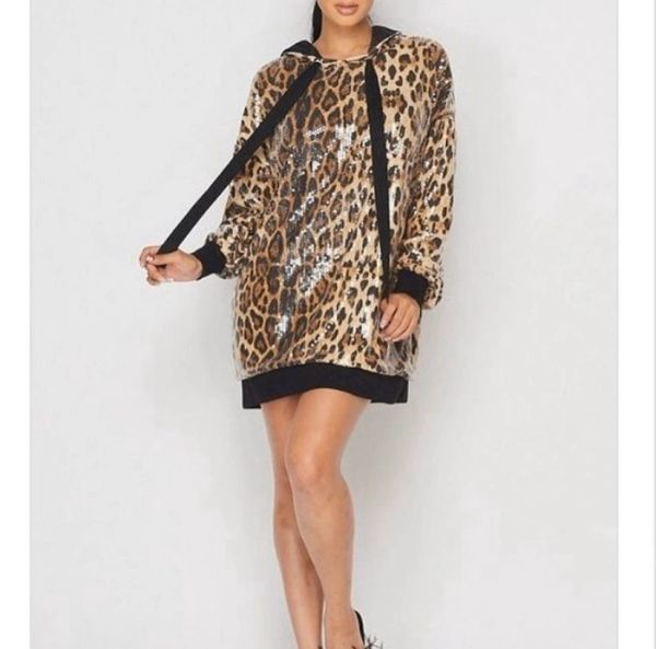 Cheetah Sequin Sweatshirt /Dress