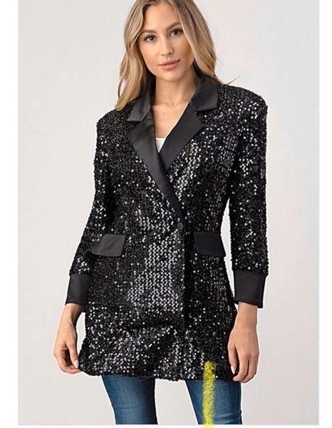 Tuxedo Sequin & Satin Jacket