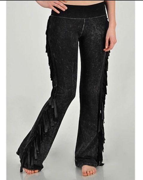 Black Mineral Wash Side Fringe Pants