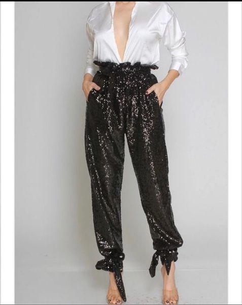 High Waist Sequin Pants