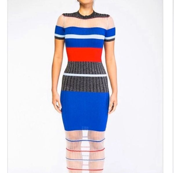 Color Block Midi Stripe Dress