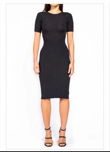 Black Ribbed Short Sleeve Knit Dress